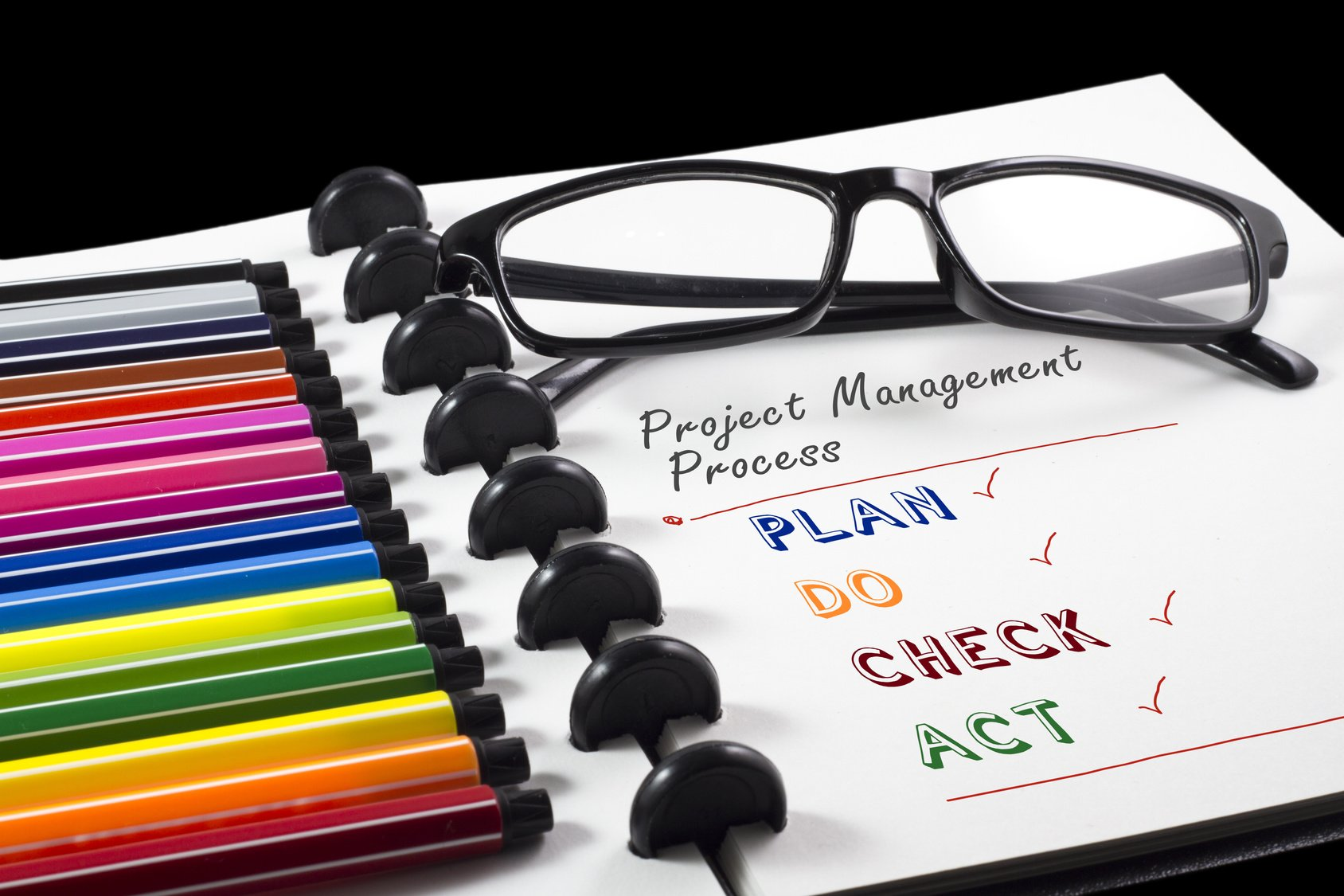 Project Management Process text on white sketchbook with color pen and eye glasses
